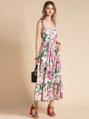 7393 Runway 2020 Floral Print Bustier Summer Midi Dress
