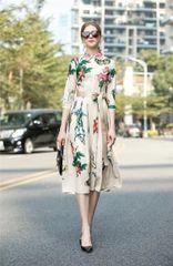 7395 Runway 2020 Floral Nude Linen Midi Dress