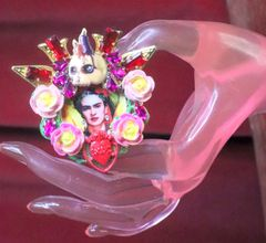 7397 Frida Kahlo Scull Roses Sacred Heart Cocktail Adjustable Ring