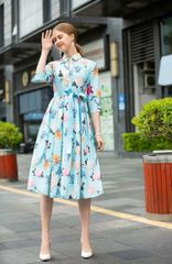 7399 Runway 2020 Floral Blue New-Look Midi Dress