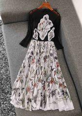 7405 Runway 2020 Sheer Floral Applique Midi Dress