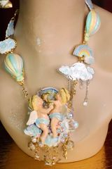SOLD! 7408 Baroque Cherubs In Clouds Rainbow Crystal Necklace