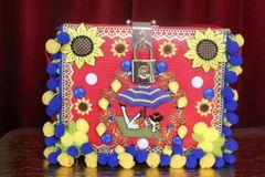 7409 Baroque Portofino Italian Pon-pom Trunk Crossbody Handbag