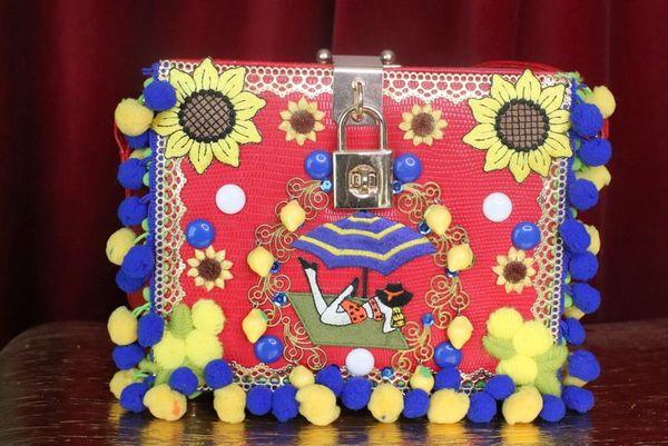 SOLD! 7409 Baroque Portofino Italian Pon-pom Trunk Crossbody Handbag
