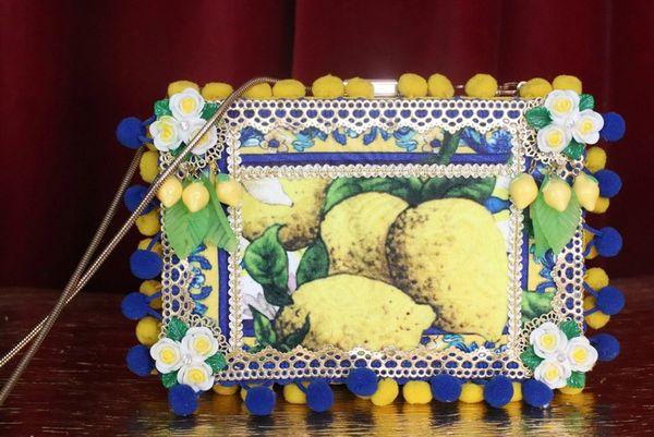 7412 Total Baroque Lemon Print Pon-pom Purse Handbag Clutch