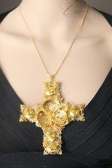 SOLD! 7413 Baroque Gold Filigree Massive Cross Pendant