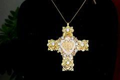 7415 Baroque Sacred Heart Gold Filigree Massive Cross Pendant