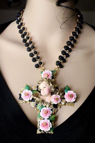 7417 Baroque Vivid Chubby Cherub Roses Black Rhinestone Cross Pendant