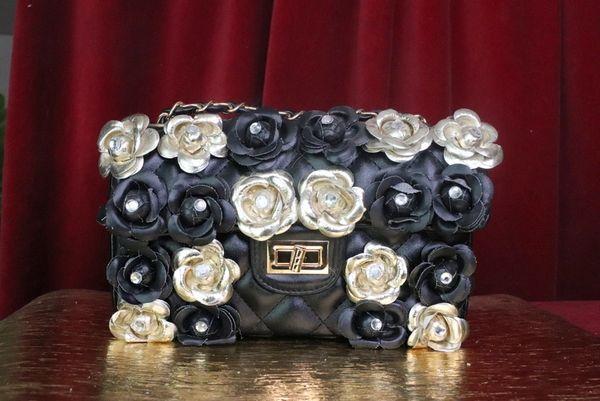 7418 TMAdame Coco Embellished Camellia Flowers PU Leather Handbag