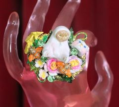 7420 Baroque Art Jewelry Vivid Adorable Mask-Off Cocktail Adjustable Ring