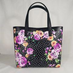 7422 Baroque Designer Inspired Polka Dot Flower Print Beach PU Handbag