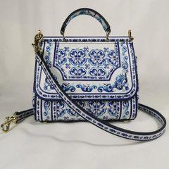 6545 Genuine Leather Mosaic Print Handbag
