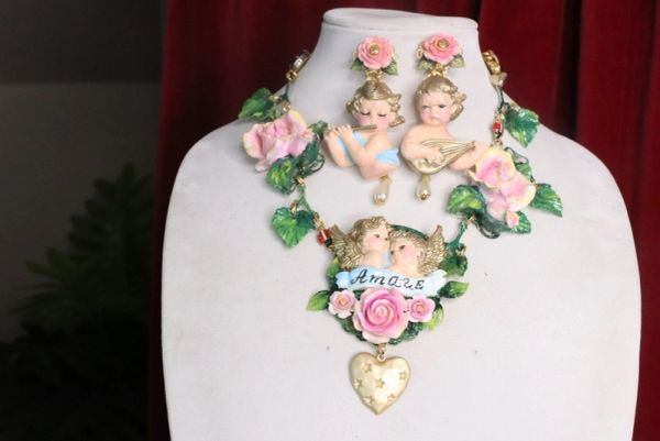 7435 Baroque Cherubs Amore Banner Roses Hand Painted Necklace
