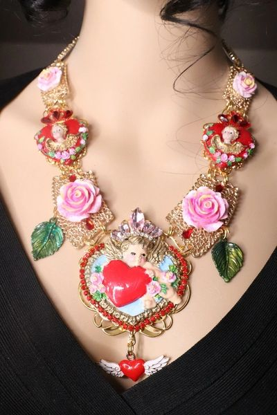 7438 Baroque Cherubs Red Roses Hearts Hand Painted Necklace