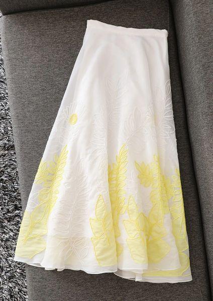 7459 High-End Runway 2020 Sheer Leaf Embroidery elegant Midi Skirt