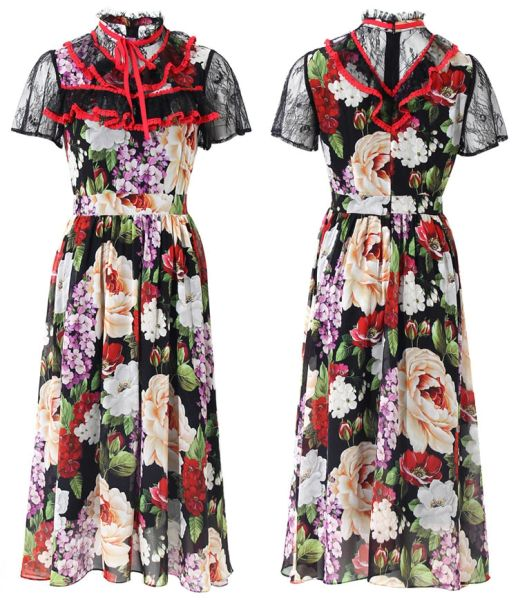 7460 Runway 2020 Skater Floral Midi Dress