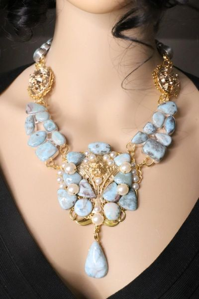 SOLD! 7465 Genuine Caribbean Larimar Gemstones Lion Medieval Massive Necklace