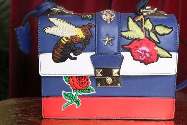SOLD! 7469 Baroque Designer Inspired Bee Tiger Embroidery PU Handbag