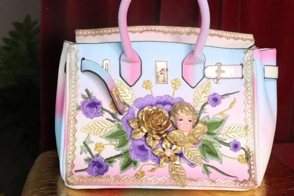 7473 Baroque Designer Kelly Rainbow Cherub Embroidery PU Handbag