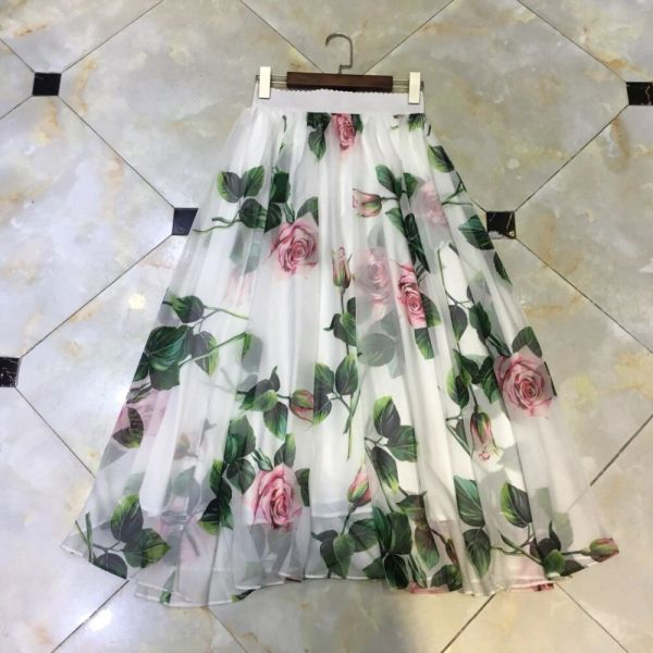 7484 Runway 2020 Sheer Rose Print Silky Touch Scater Midi Skirt