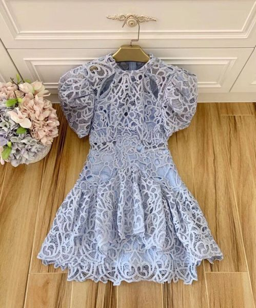 7486 High-End Designer Inspired Runway 2020 Crochet Blue Mini Dress