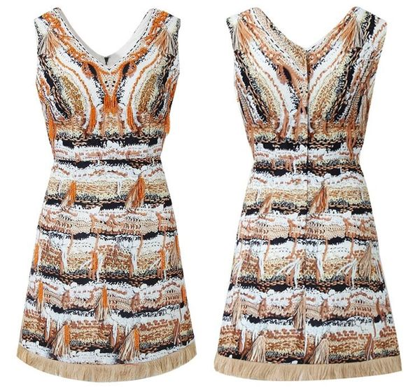 7488 Designer Inspired Runway 2020 Tweed Print Mini White Dress