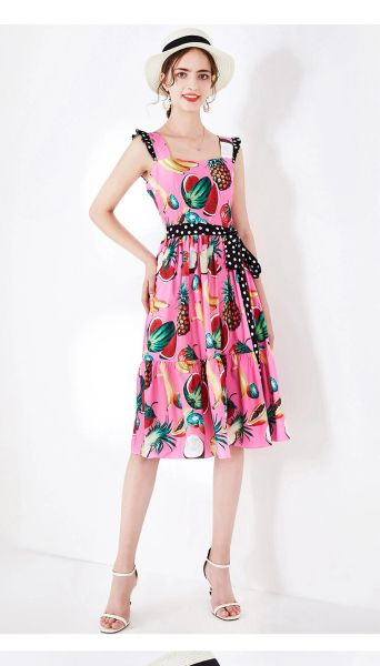 7490 Designer Inspired Runway 2020 Fruit Polka Dot Print Midi Skater Dress