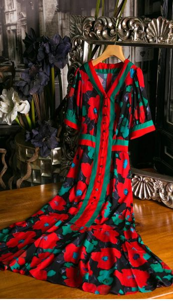 7491 Designer Inspired Runway 2020 Fruit Floral Red/Green Print Midi Dress