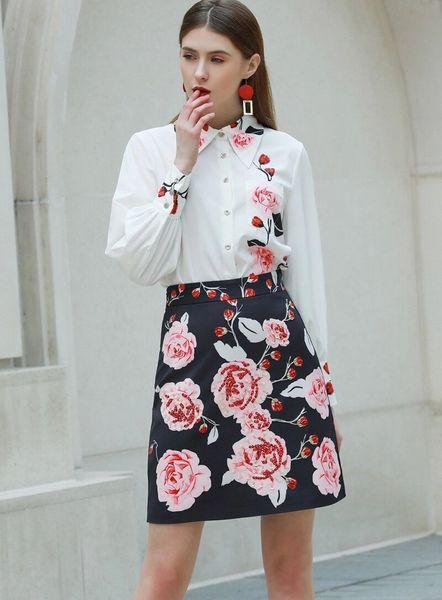 7492 Designer Inspired Runway 2020 Floral Print Skirt+ Shirt Twinset