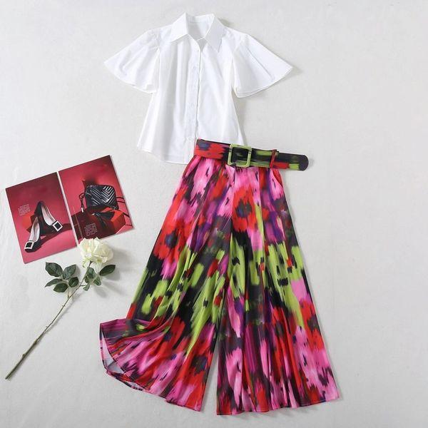 7493 Designer Inspired Runway 2020 Tie-Dye Culotte + Shirt Twinset