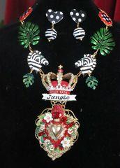 7502 Set Of Runway 2020 Designer Inspired Sacred Heart Jungle Zebras Necklace+ Earrings