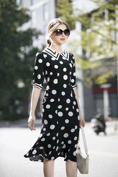 7503 Designer Inspired Runway 2020 Polka Dot Lady-like Dress
