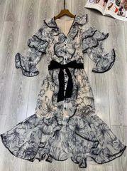 7504 Designer Inspired Runway 2020 Floral Mermaid Lady-like Dress
