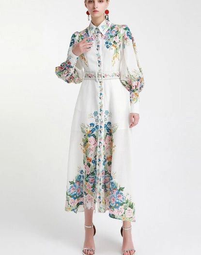 7505 Designer Inspired Runway 2020 Floral Festive Folk Maxi Dress
