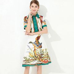 7506 Designer Inspired Runway 2020 Duck Print Mini White Dress