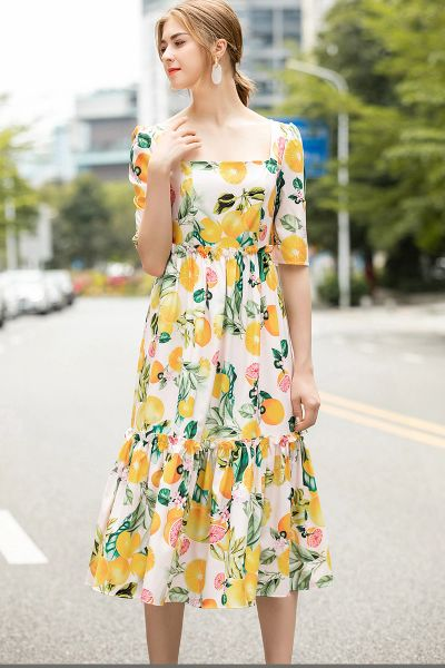 7508 Designer Inspired Runway Lemon Print Midi White Dress