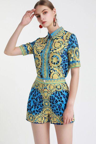 7509 Designer Inspired Runway 2020 Baroque Print Leopard Shorts + Shirt Twinset