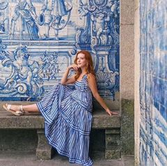 7511 Designer Inspired Runway Striped Blue Print Empire Waist Dress