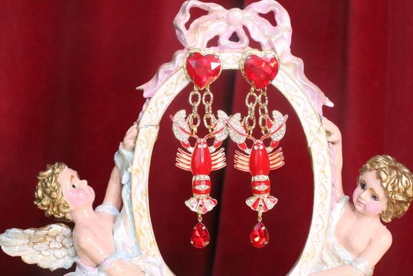 7512 Baroque Lobster Enamel Nautical Marine Ship Studs Earrings