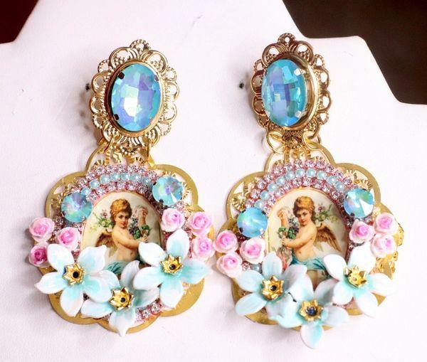 7514 Baroque Cherubs Aqua Rhinestones Cameo Studs Earrings