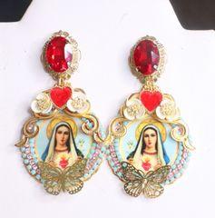 7518 Virgin Mary Heart Butterfly Cameo Studs Earrings