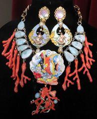 SOLD! 7520 Nautical Ocean 3D Effect Fish Genuine Caribbean Larimar Gemstones Massive Necklace