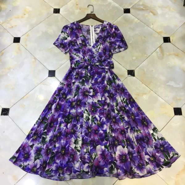 7521 Designer Inspired Runway Floral Print Midi Dress