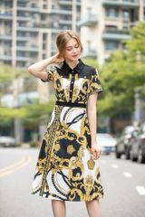 7522 Designer Inspired Runway Baroque Print Midi Dress