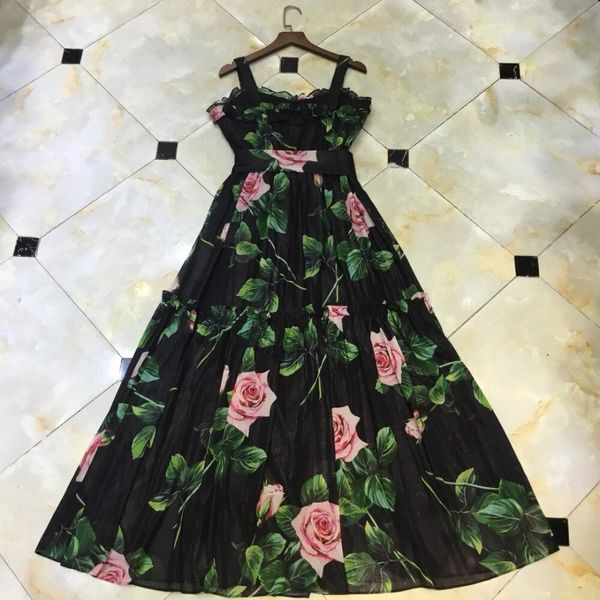 7524 Designer Inspired Runway Rose Print Midi Black Dress