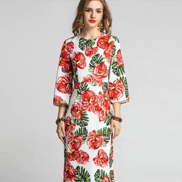 7525 Designer Inspired Runway Flower Palm Tree Print Midi White Dress