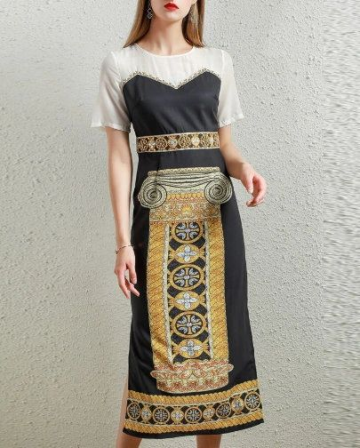 7526 Designer Inspired Runway Roman Column Print Midi Black Dress