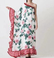 7527 Designer Inspired Runway Rose Print One Shoulder Maxi Dress