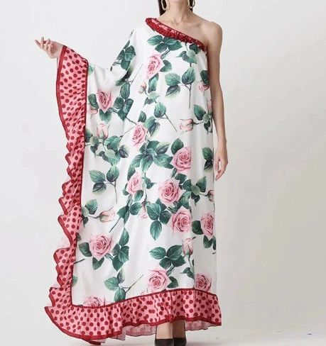 7527 Designer Inspired Runway Rose Print One Shoulder Maxi Dress