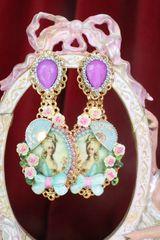 7530 Young Marie Antoinette Fan Aqua Elegant Earrings